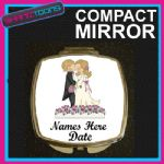 PERSONALISED WEDDING GIFT COMPACT LADIES METAL HANDBAG MIRROR - 150927236176